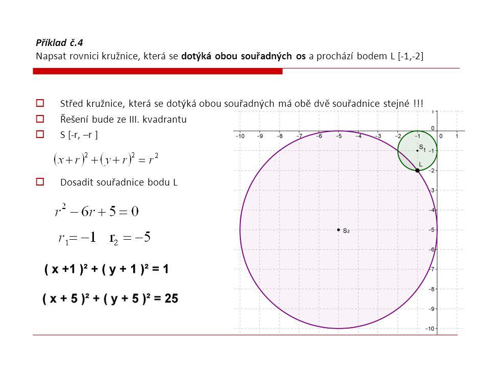 Příklad č.4 Napsat rovnici kružnice, která se dotýká obou souřadných os a prochází bodem L [-1,-2]